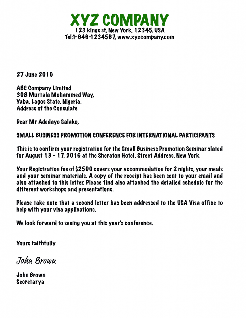 Invitation Letter for Business Visa